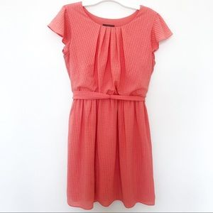 IZ BYER girl coral dress with ruffle sleeves